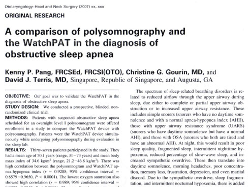 comparison of polysomnography and the watchpat in the diagnosis of obstructive sleep apnea